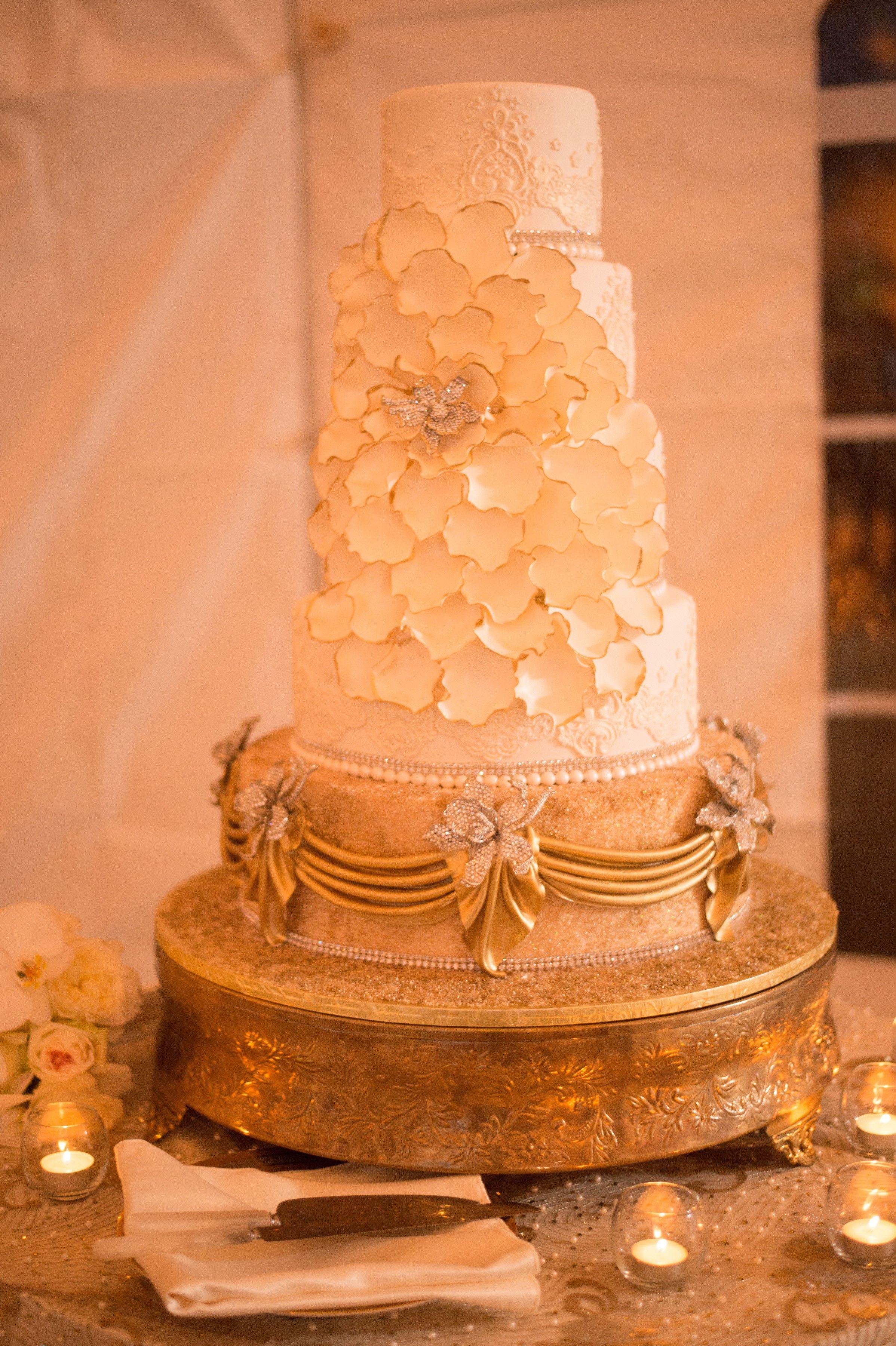 wedding cakes in lagunbeach ca%0A Gold   Ivory wedding cake  the cake zone