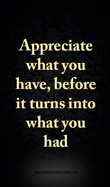 Appreciate What You Have Before It Turns Into What You Had Quotes