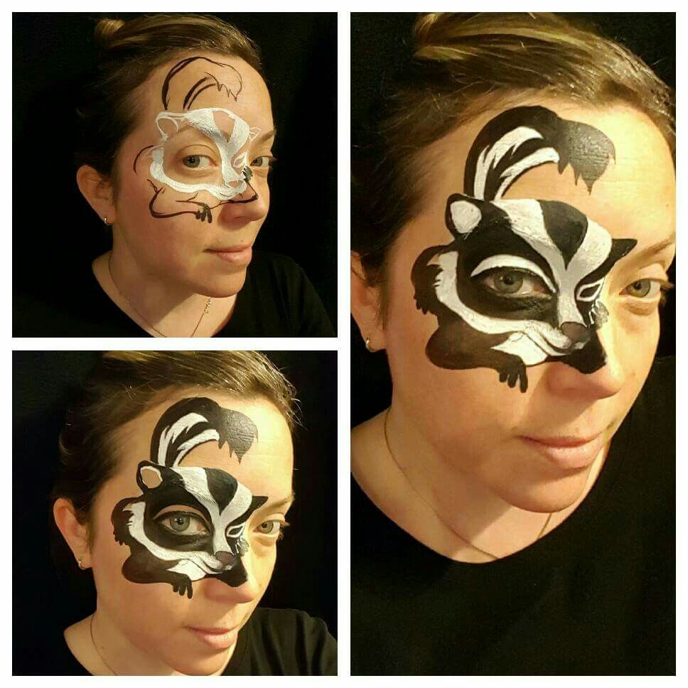 skunk face painting by kellie a burrus maquillage. Black Bedroom Furniture Sets. Home Design Ideas