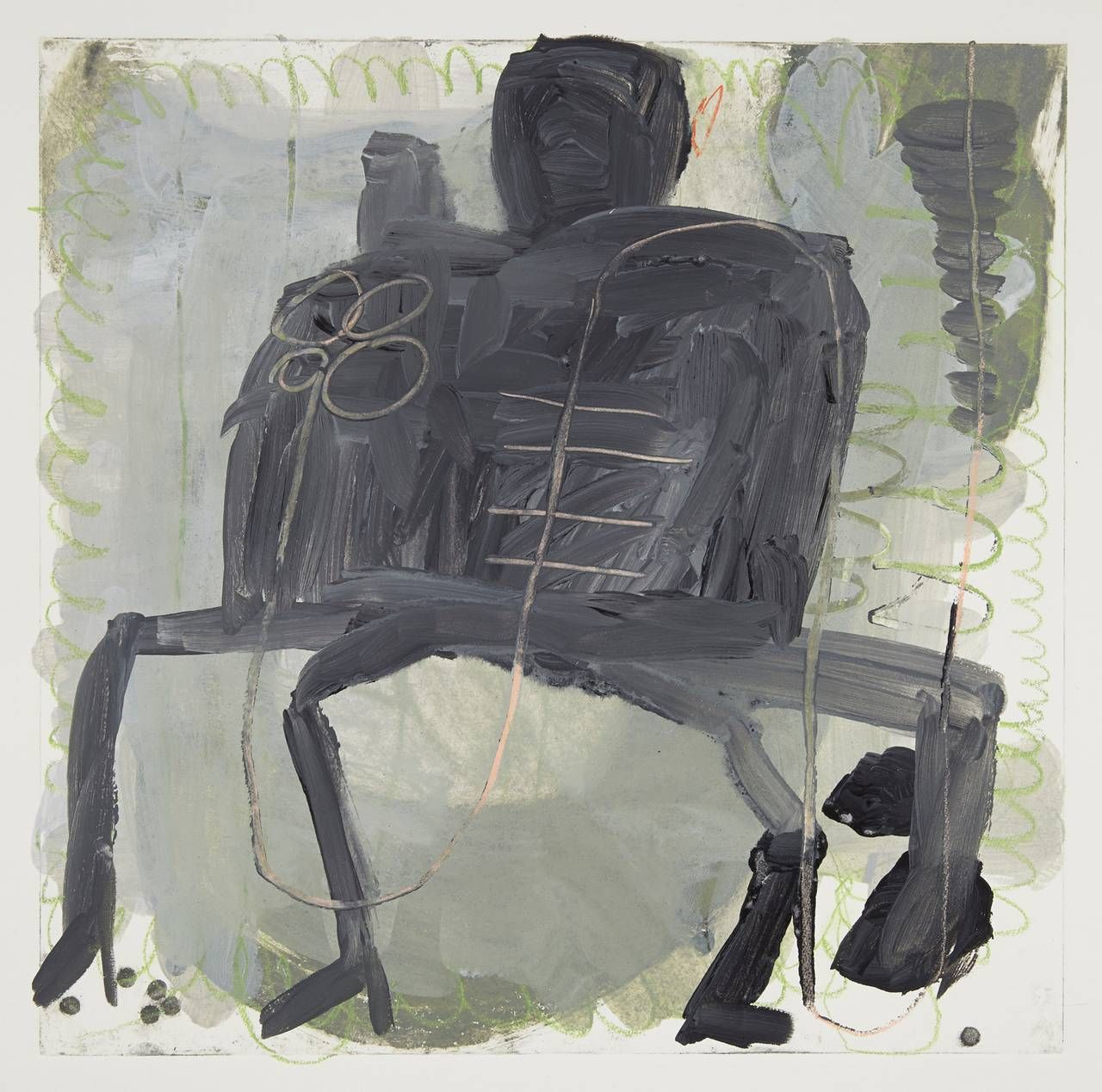 Roxanne Faber Savage - Couple on Bench   From a unique collection of mixed media at https://www.1stdibs.com/art/mixed-media/
