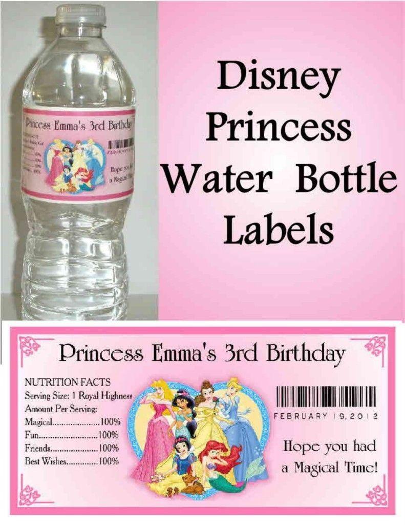 20 Disney Princess Water Bottle Labels PARTY FAVORS Cinderella Belle Ariel