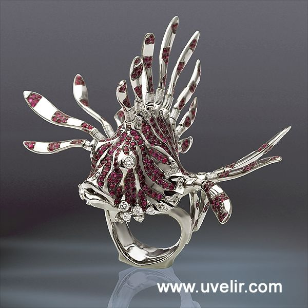 Magic Fish Ring -Exclusive cocktail ring in18K white gold & palladium & with 3.52ctw of ruby and 1.25ctw diamonds