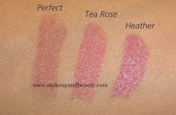 NYX Round lipstick in Perfect, Tea rose, Heather
