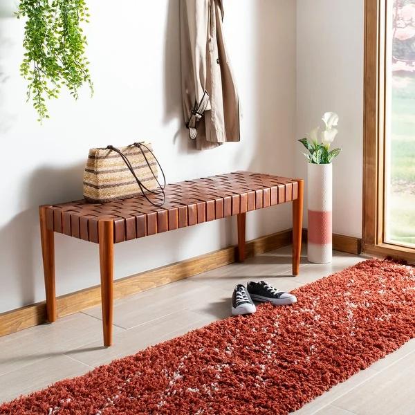 Safavieh Amalia Wood and Leather Bench – Cognac