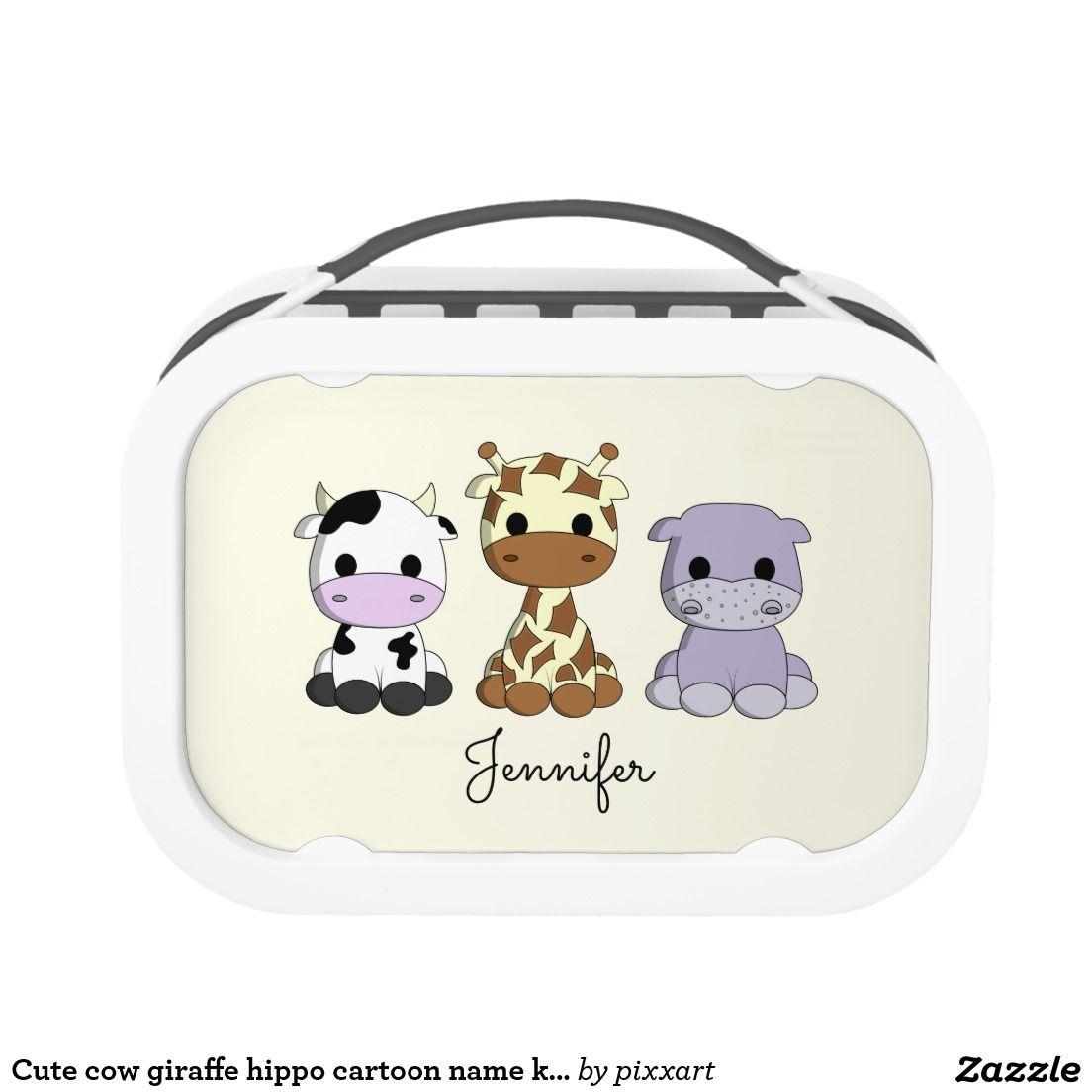 Cute Cow Giraffe Hippo Cartoon Name Kids Lunchbox Lunch Box Kids Lunchbox Hippo Cartoon