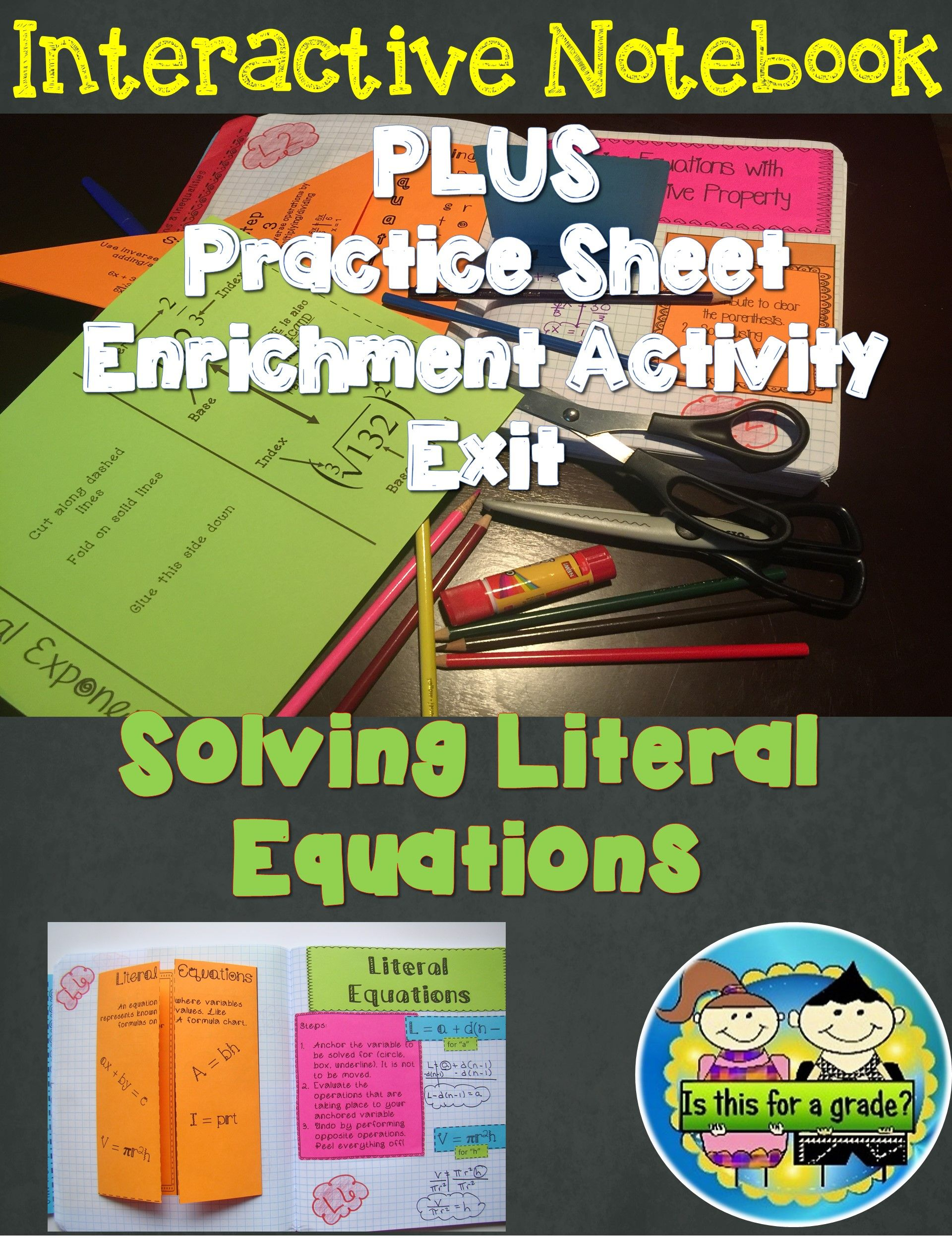 Solving Literal Equations Foldable Inb Practice Amp Exit