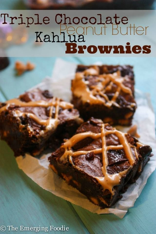 Triple Chocolate Peanut Butter Kahlua Brownies http://emergingfoodie.com/2014/01/23/triple-chocolate-peanut-butter-kahlua-brownies/ <-Recipe: Triple chocolate peanut butter kahlua brownies are perfect anytime  Please help me increase this posts reach! √ Like √ Comment √ Share √ Thank you! Confessions of Crafty Witches help support our page by sharing our postings thank you Remember to visit my page daily to see all our postings