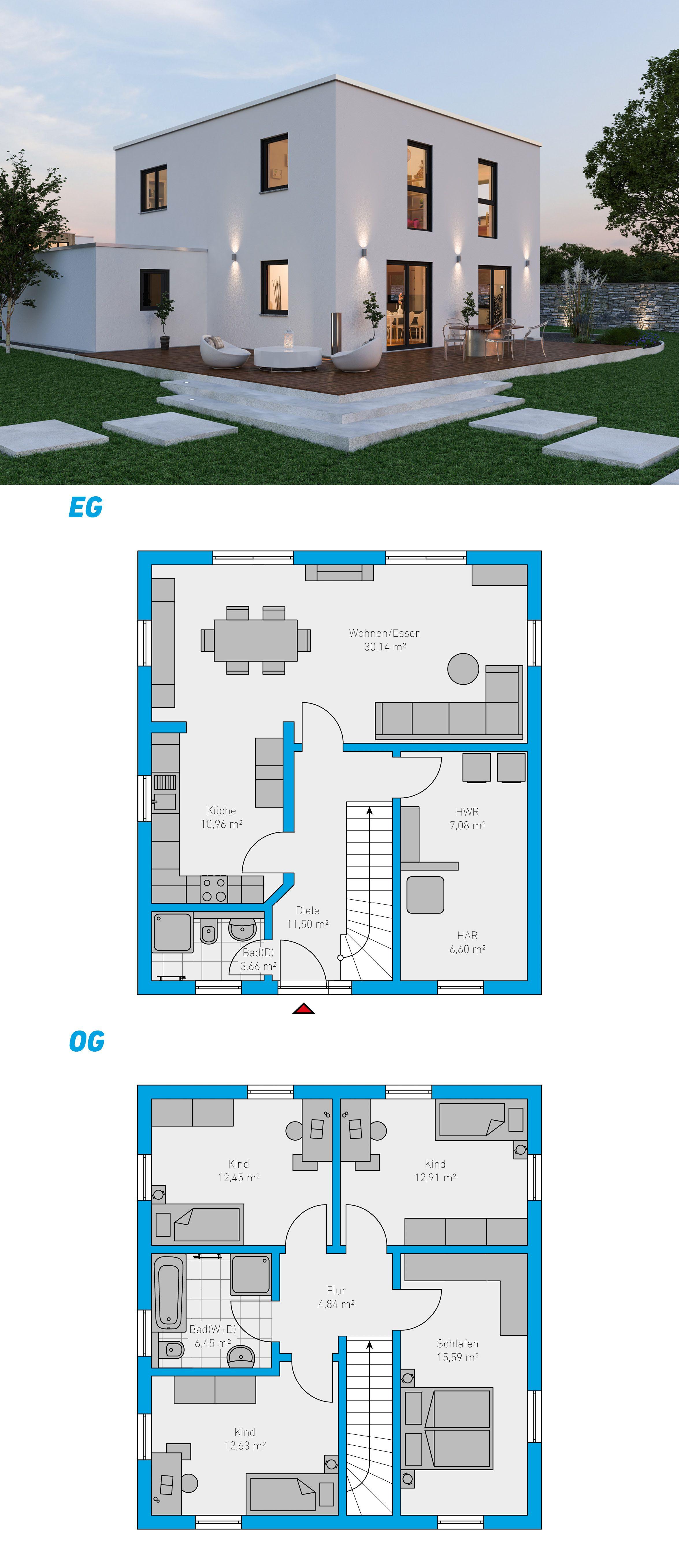 Alea 135 Schlusselfertiges Massivhaus 2 Geschossig Spektralhaus Ingutenwanden 2geschossig Grundriss Hausbau Massivhaus Haus Architektur Haus Plane Haus