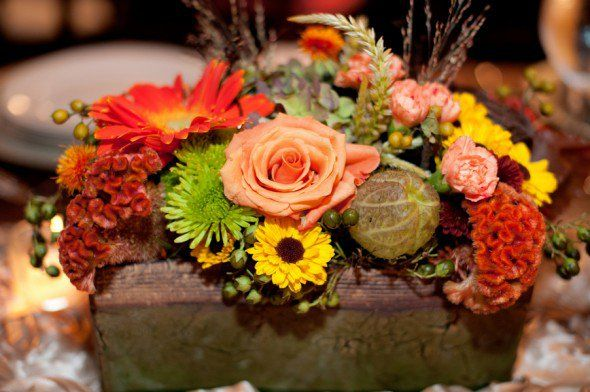 rustic fall wedding centerpiece