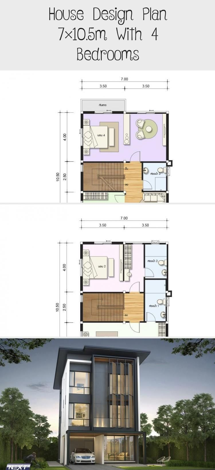 House Design Plan 7x10 5m With 4 Bedrooms Home Design With Plansearch Asianhousedesign Housed In 2020 Sustainable House Design Home Design Plans Beach House Design