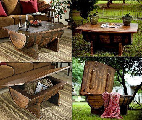 Recycled whiskey barrel into a coffee table with storage