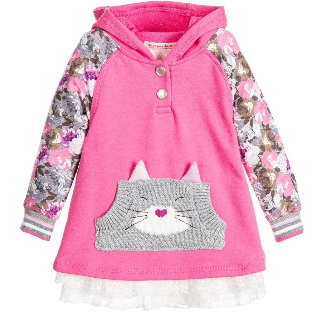 Deux Par Deux Pink Hooded Dress at