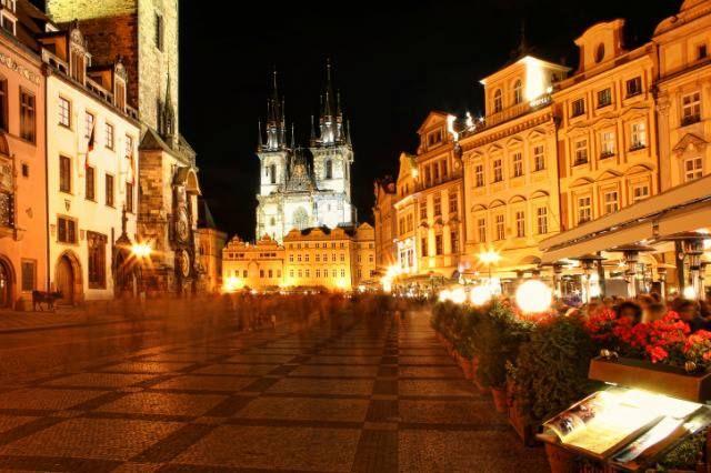 Prague city center at night