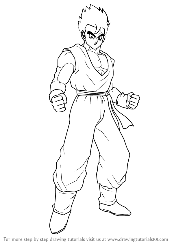 How To Draw Son Gohan From Dragon Ball Z Drawingtutorials101 Com Dragon Ball Z Dragon Ball Gohan