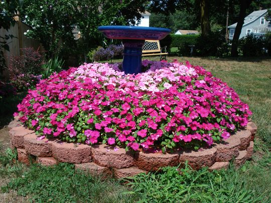 hiding a tree stump ------- I need several of these in my yard now. :)