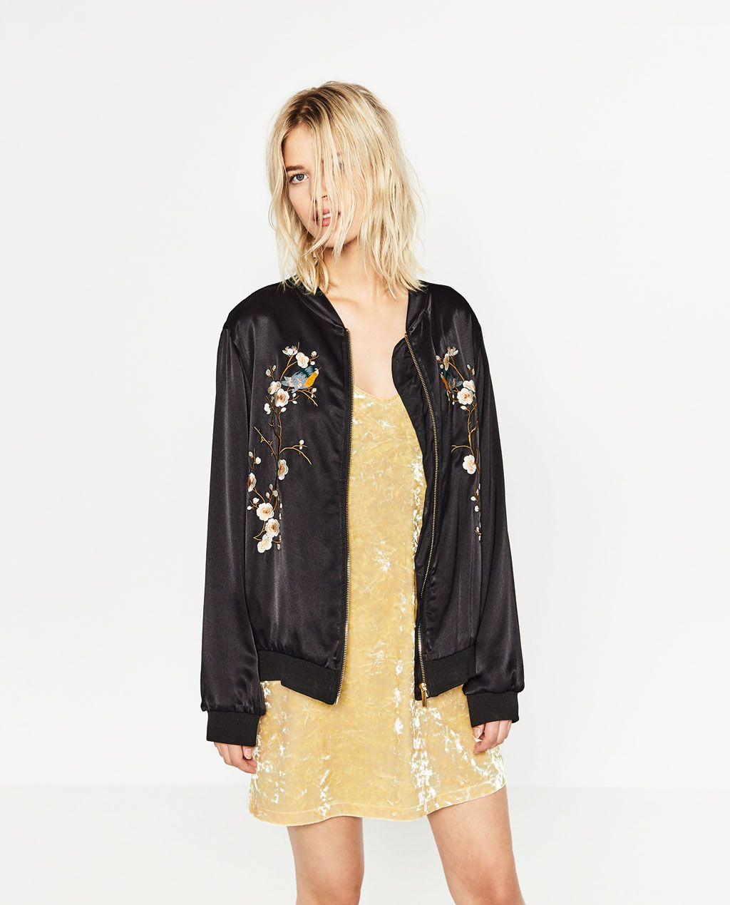 Floral embroidered bomber jacket bombers outerwear woman