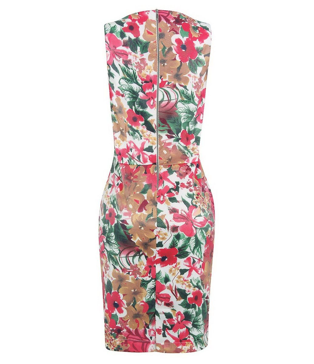Vestido Tubinho com Estampa Floral - Costas