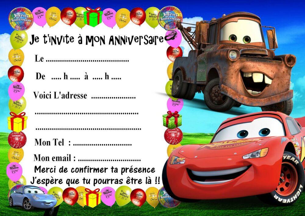 Carte D Invitation Anniversaire Gratuite A Imprimer Cars Elegant 5 Cartes Invitations Anniversaire Cars 03