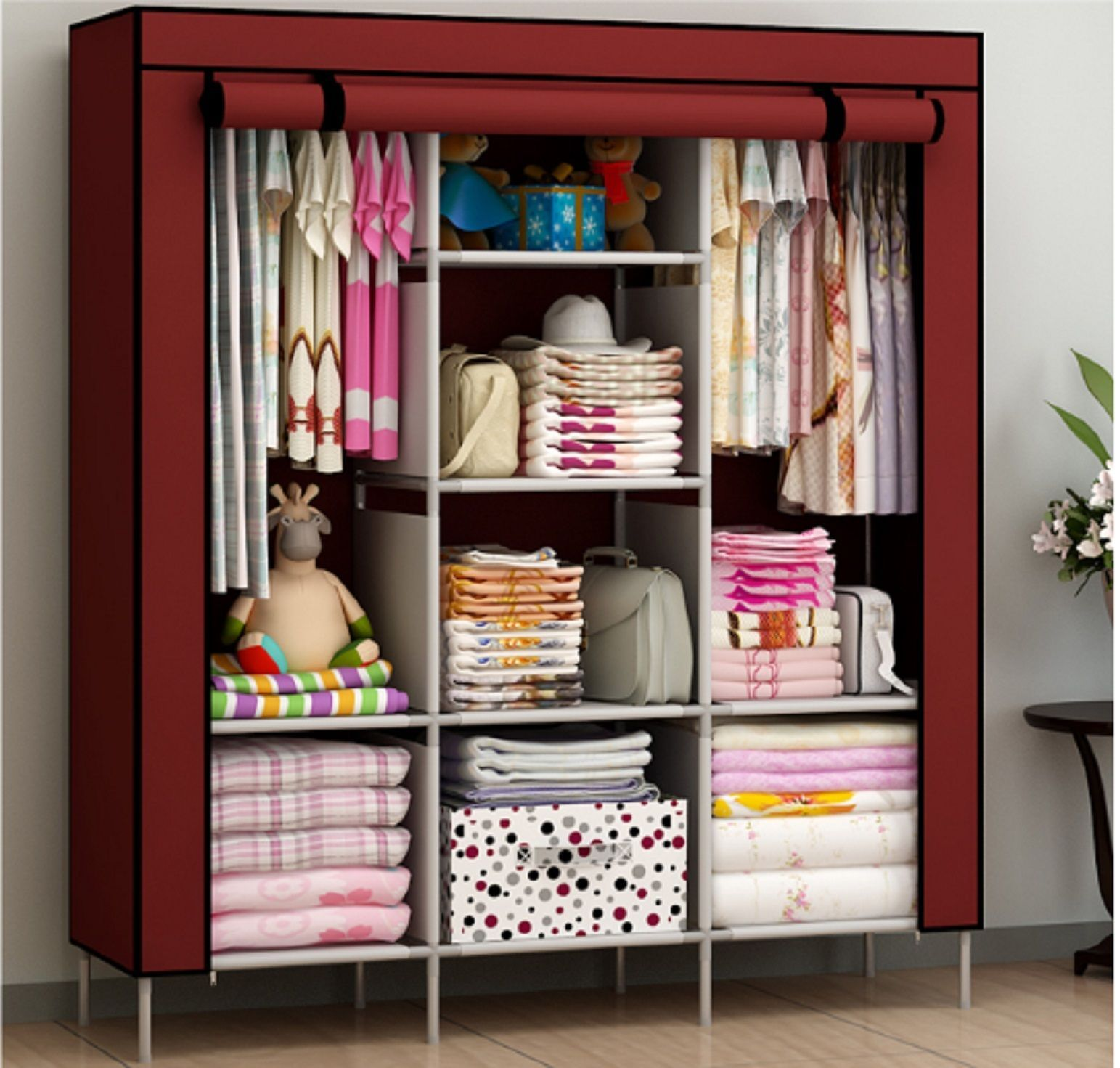 New Portable Bedroom Furniture Clothes Wardrobe Closet Storage Cabinet Armoires Storage