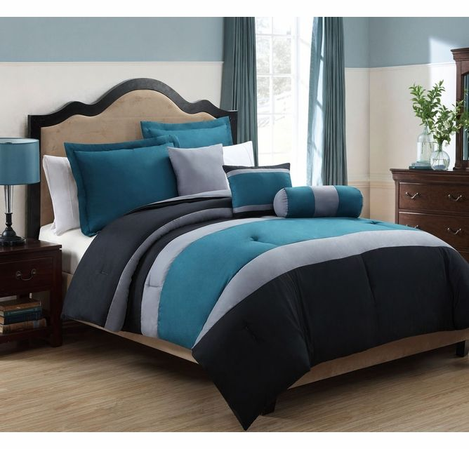 10 Piece Queen Tranquil Teal And Gray Bed In A Bag Set Grey Comforter Sets Teal Bedding Sets Comforter Sets