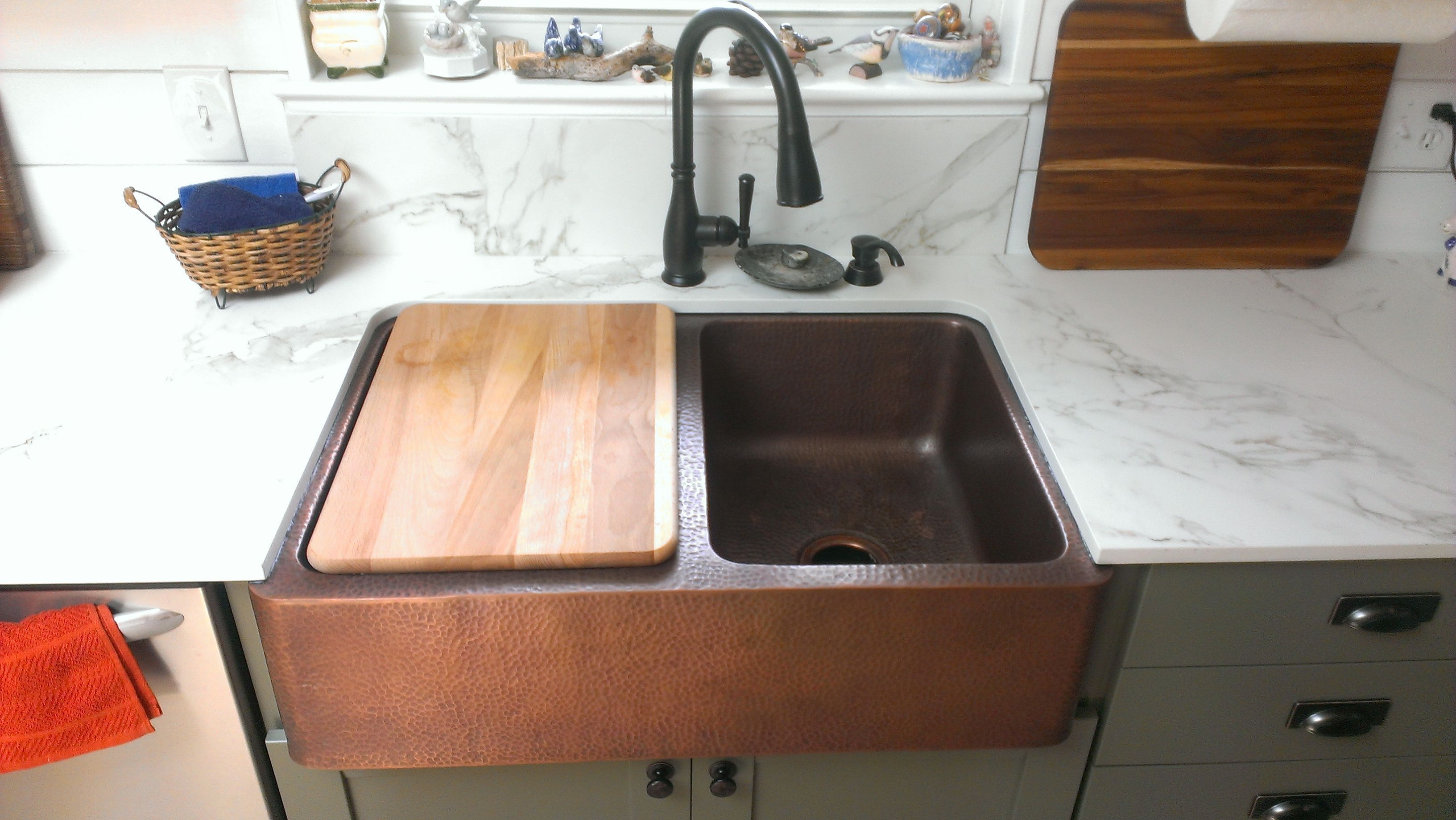 Copper Farmhouse Sink By Sinkology Purchased From Home Depot And Entzo Calacutta Copper Farmhouse Sink By Sinkol In 2020 Copper Farmhouse Sinks Farmhouse Sink Sink