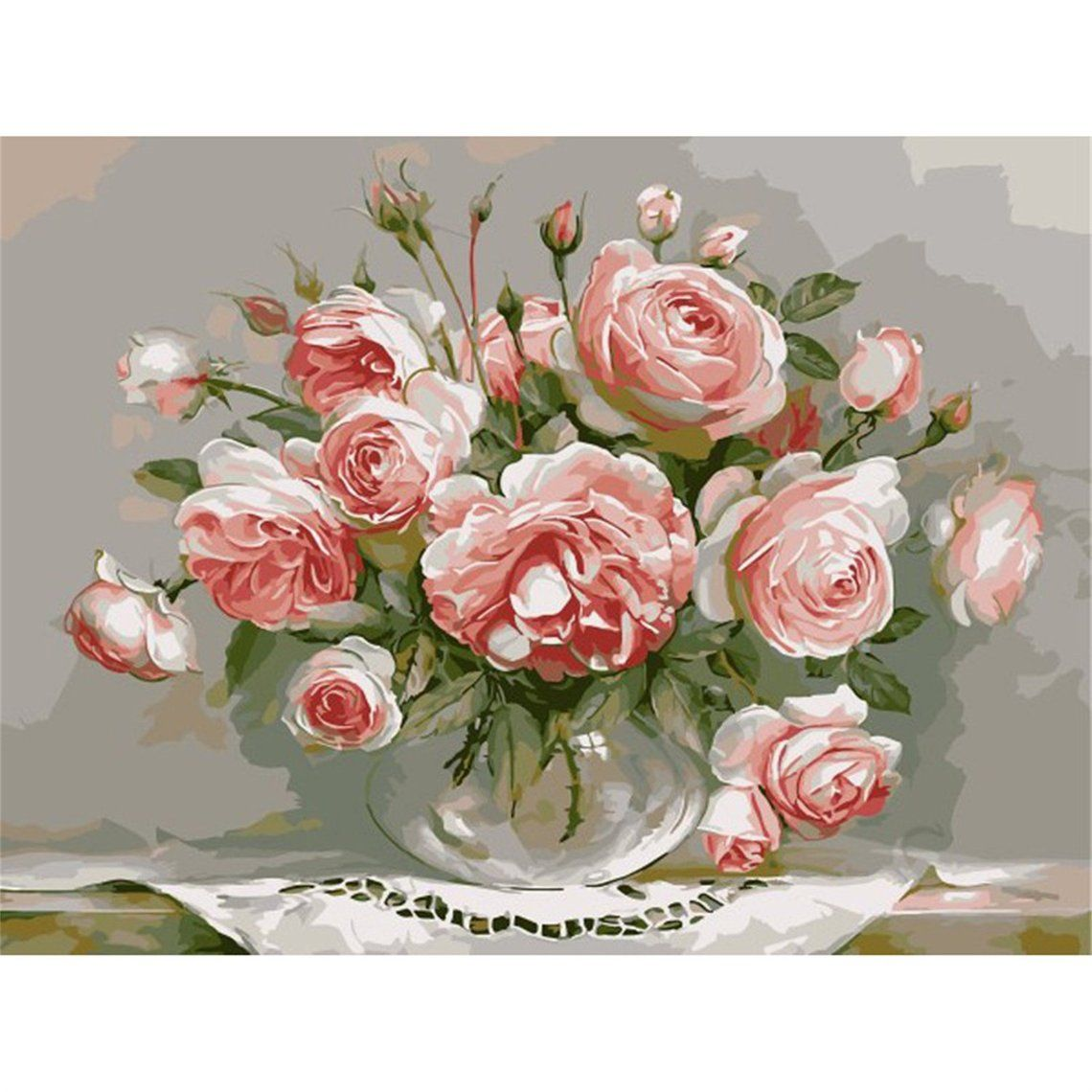 """Acrylic Painting 16*20/""""  Paint By Number kit Canvas BEAUTIFUL PEONY IN PORCELAIN"""