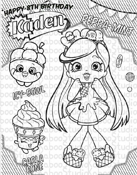 Peppamint Coloring Shopkin Coloring Pages Shopkins Colouring