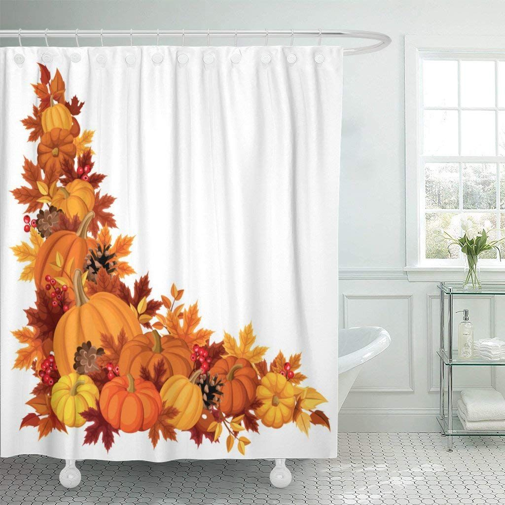 Emvency Fabric Shower Curtain Curtains With Hooks Brown Thanksgiving Corner With Pumpkins And Autumn Le In 2020 Shower Curtain Decor Shower Curtain Fall Shower Curtain