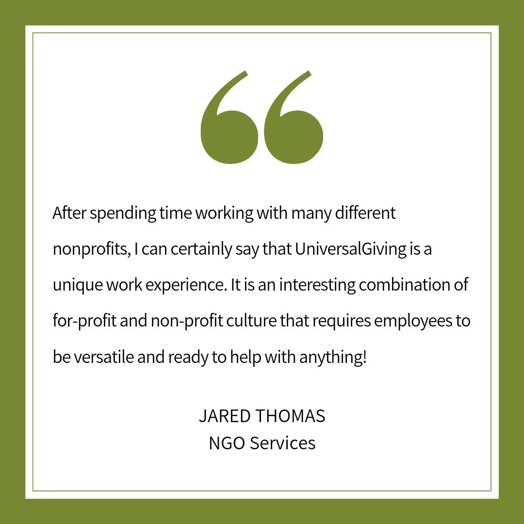 Testimonial from Jared Thomas, NGO Services Intern. Work