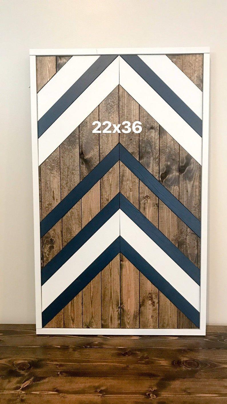 Gray And Navy Chevron Wall Hanging Handmade Geometric Etsy In 2021 Wood Wall Art Diy Reclaimed Wood Wall Art Chevron Wall Art