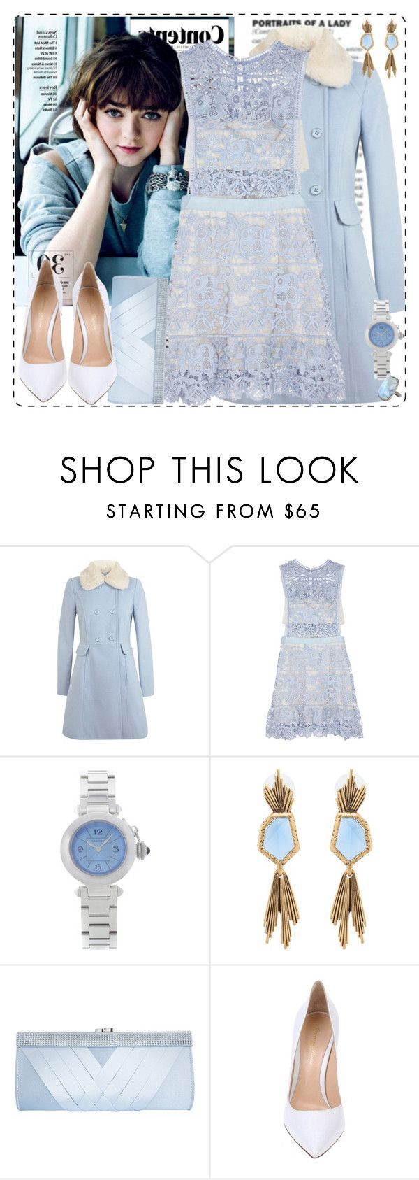 """""""Jenny 11.01"""" by coraline-marie ❤ liked on Polyvore featuring Miss Selfridge, self-portrait, Cartier, Oscar de la Renta, GCGme, Gianvito Rossi and ADORNIA"""