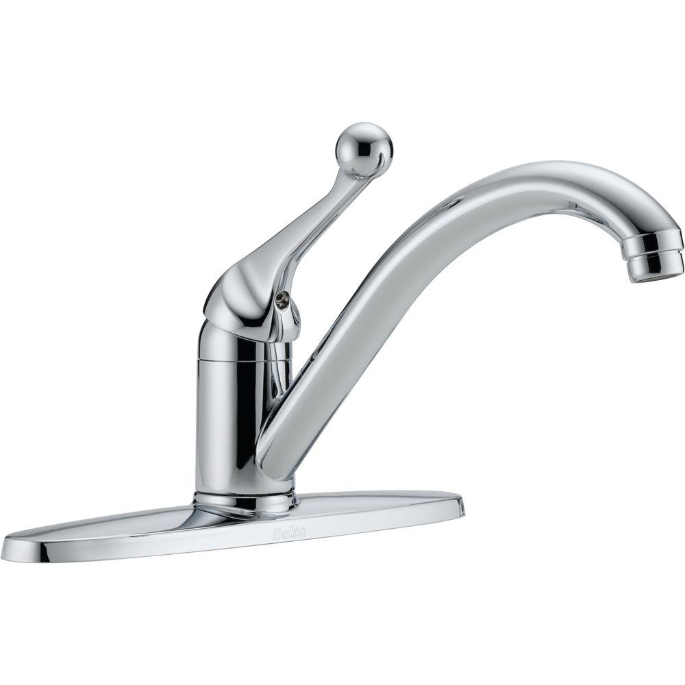 Delta Classic Single Handle Standard Kitchen Faucet In Chrome Grey With Images Low Arc Kitchen Faucet Kitchen Faucet Chrome Kitchen Faucet