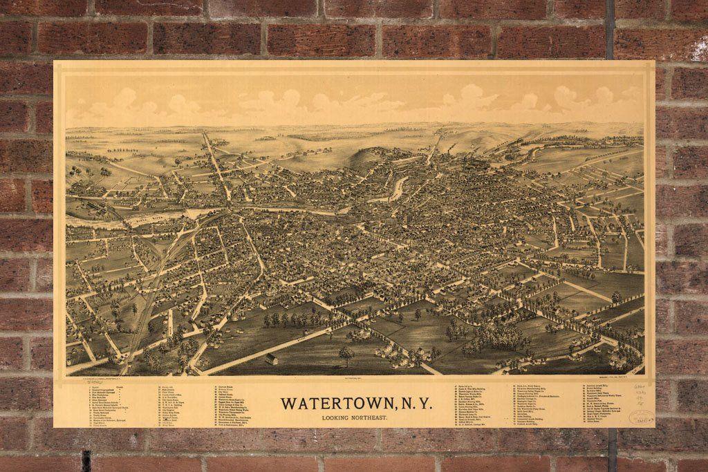 Vintage Watertown Print, Aerial Watertown Photo, Vintage Watertown ...