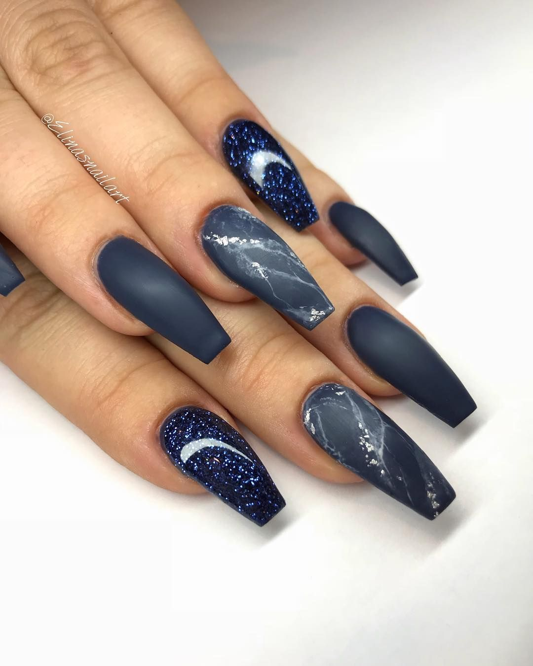 25 Best Coffin Nail Designs Luxury Nails Blue Coffin Nails