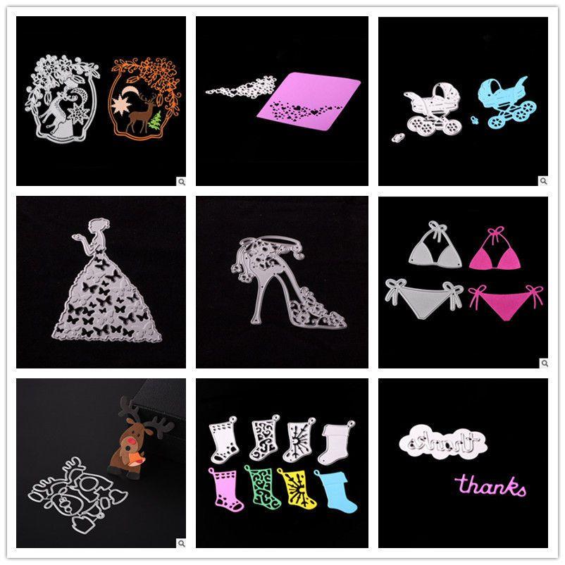 Metal Cutting Dies Princess Thank Deer Baby Crystal shoes Bikini,Christmas Sock