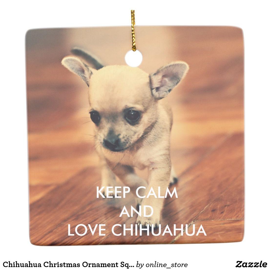 Chihuahua Christmas Ornament Square Add Photo Zazzle Com