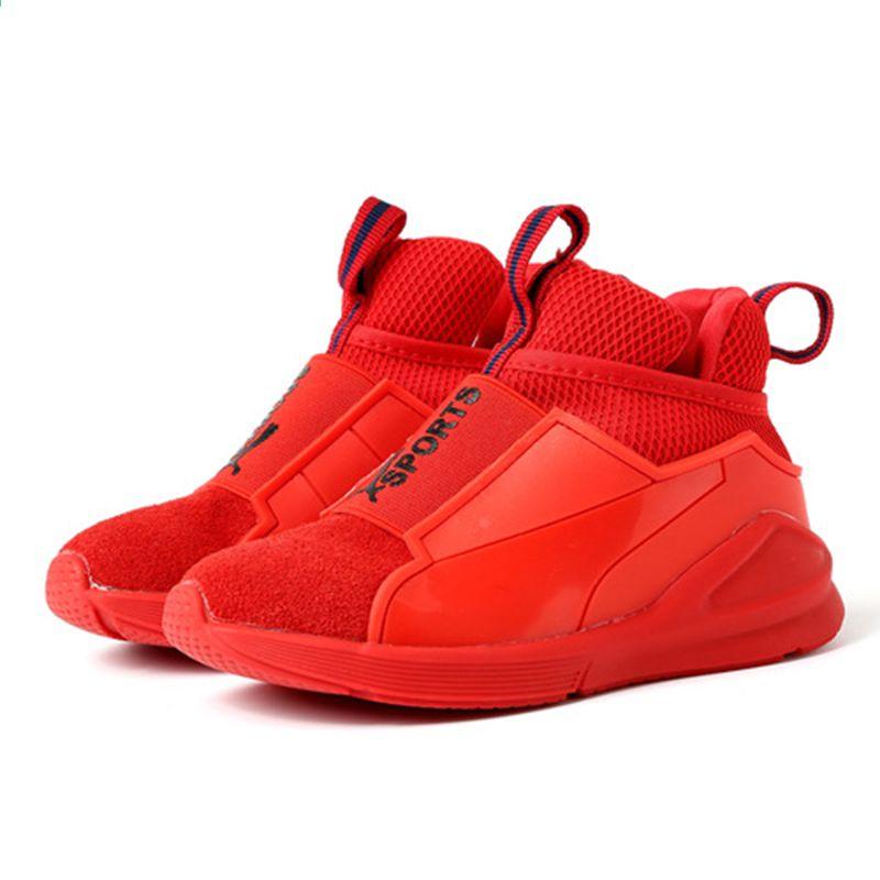 Dzieci Sportowe Skorzane Buty Dla Chlopcow Dziewczyna Dzieci Przypadkowe Buty Trampki Czarne Czerwony Kolor Puma Fierce Sneaker High Top Sneakers Top Sneakers