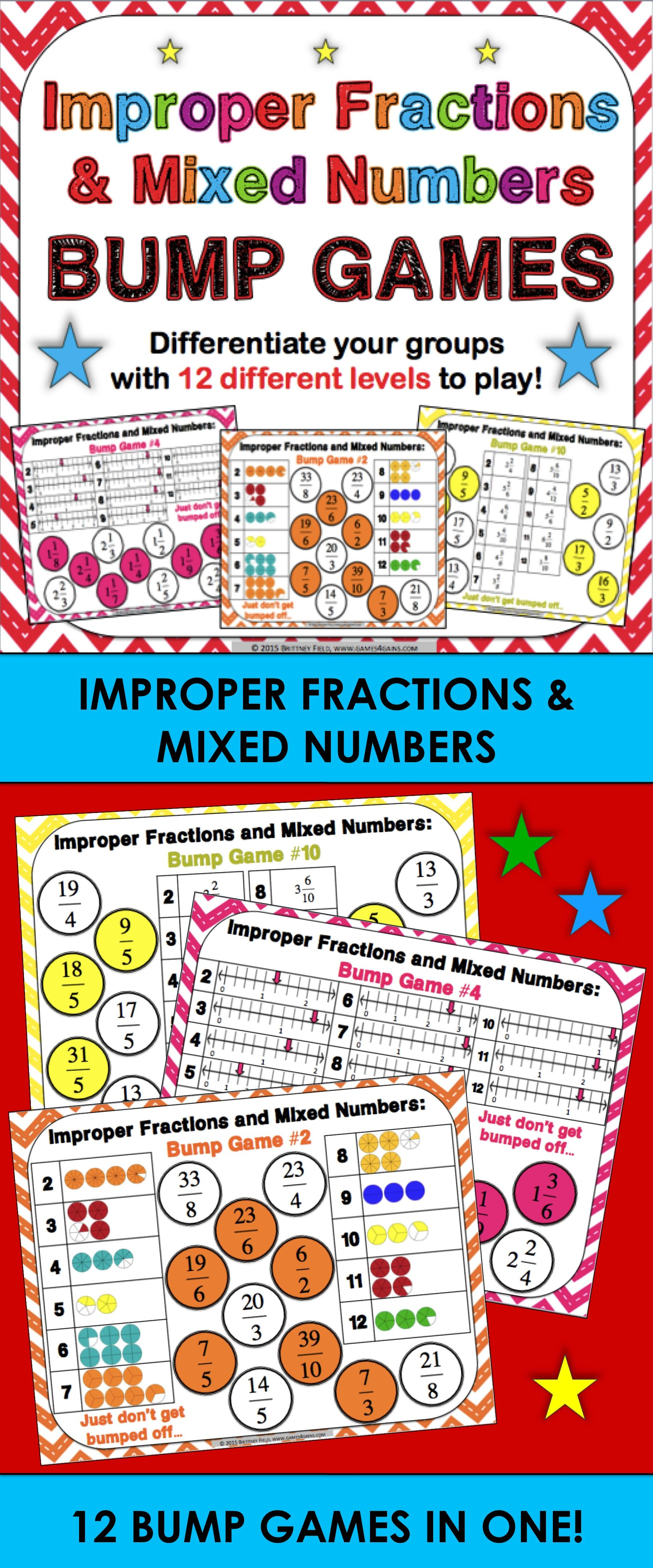 13 Mixed Numbers And Improper Fractions Worksheet