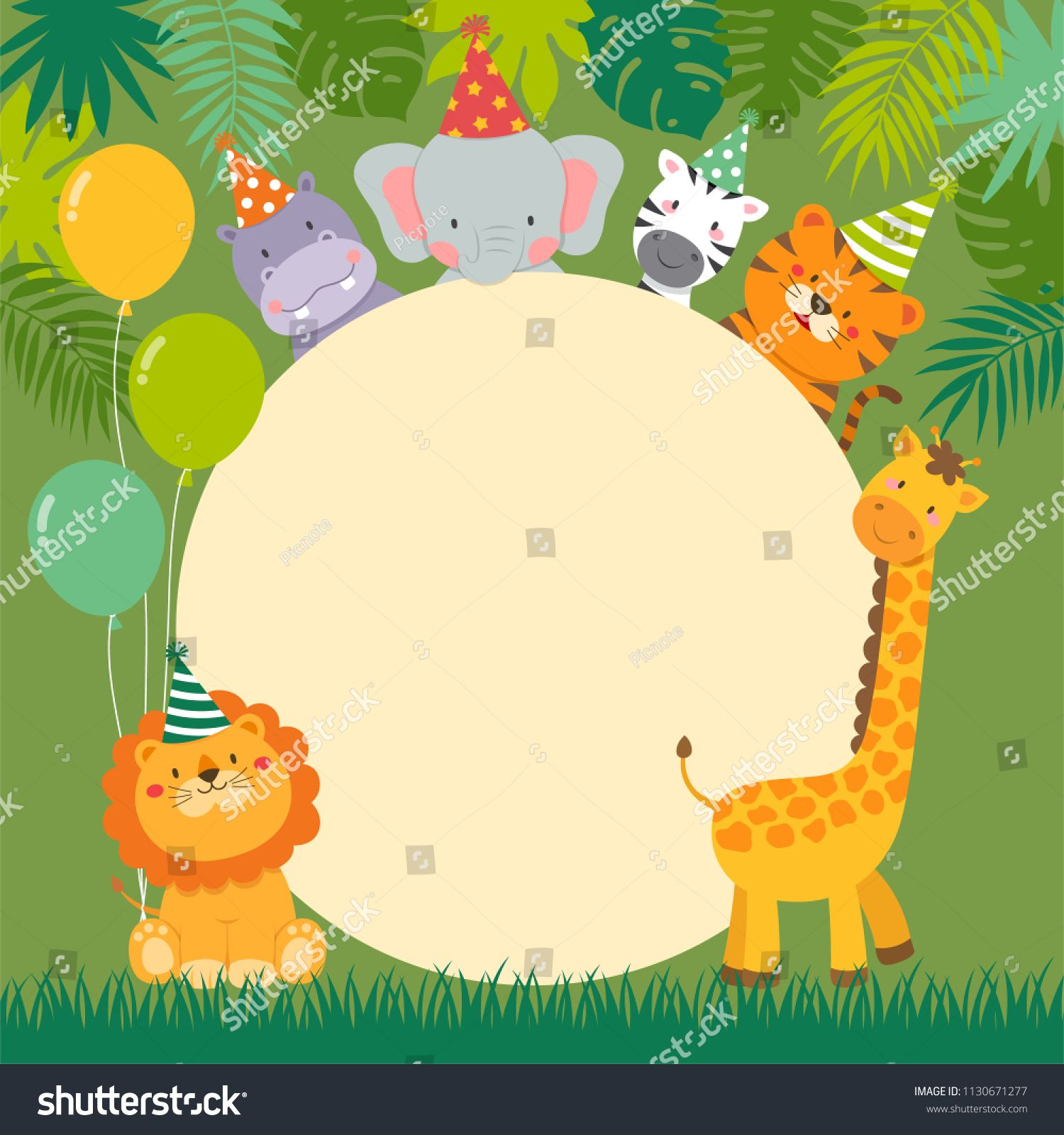 Cute Wildlife Animals Cartoon With Circle Border For Party Invitation Card Templatecartoon Circle Animals Cute Wildlife Animals Cartoon Animals Wildlife