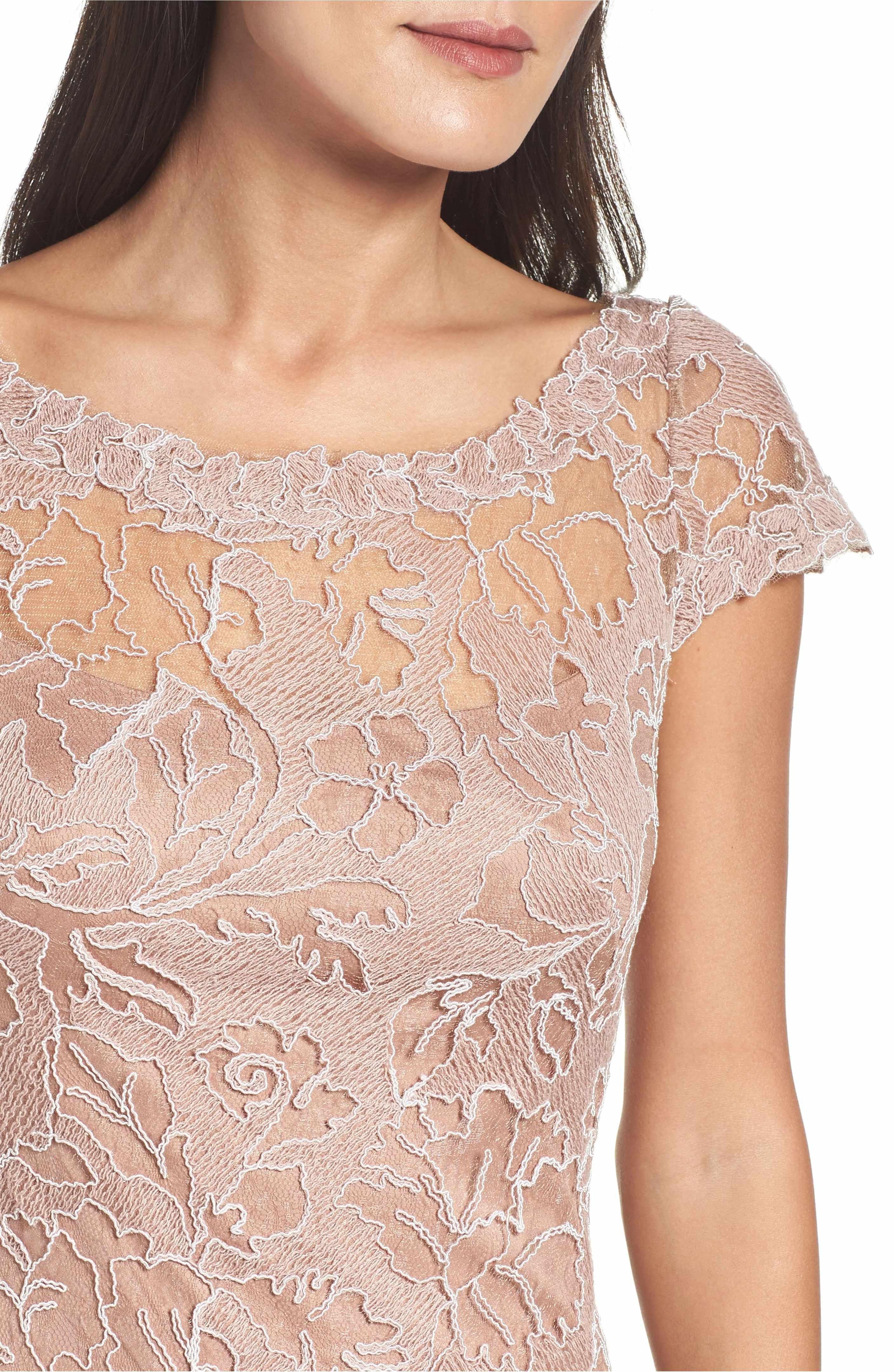 Main Image - Tadashi Shoji Embroidered Lace Gown (Regular & Petite ...