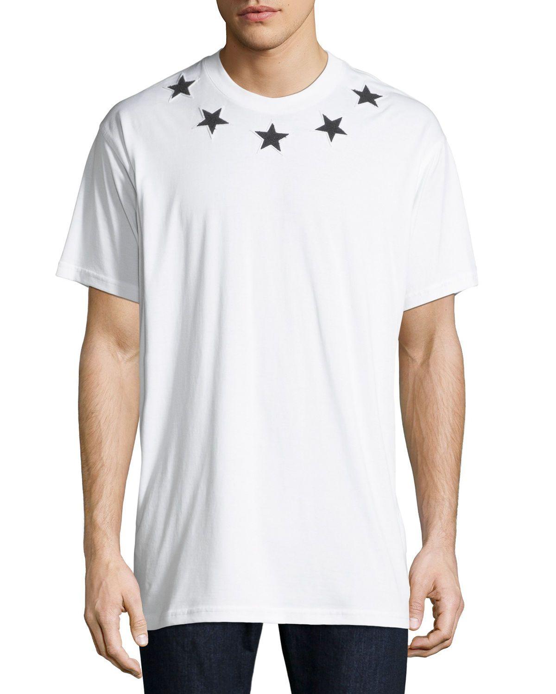 Men S Star Patch Crewneck T Shirt In 100 White White Cotton T Shirts Givenchy Man T Shirt