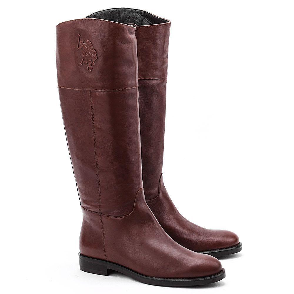 U S Polo Assn Sella Brazowe Skorzane Kozaki Damskie Buty Kobiety Kozaki Mivo Boots Riding Boots Shoes