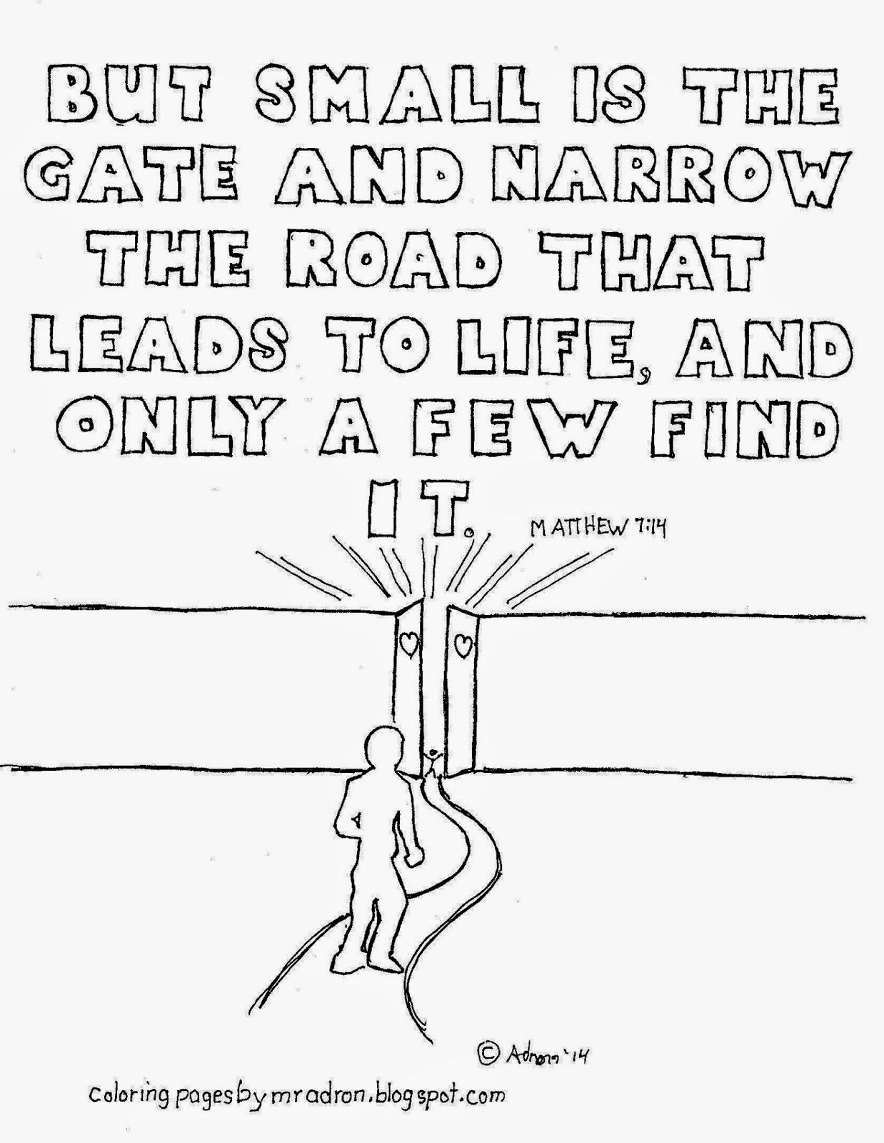 Coloring pages for by mr adron matthew 7 14 the narrow gate free coloring page
