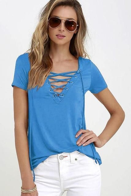 d6a481ba Lace Up Sexy V Neck Top Women's Summer Fashion, T Shirts For Women, Coupon