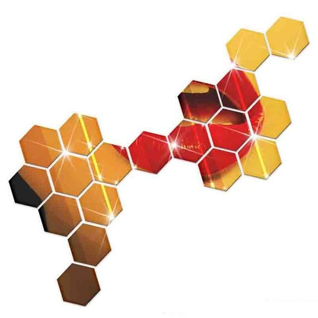 7 Piece Hexagon Acrylic Mirror Wall Stickers Mirrored ...