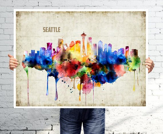 Seattle Wall Art seattle - art print - poster - skyline - watercolor wall art
