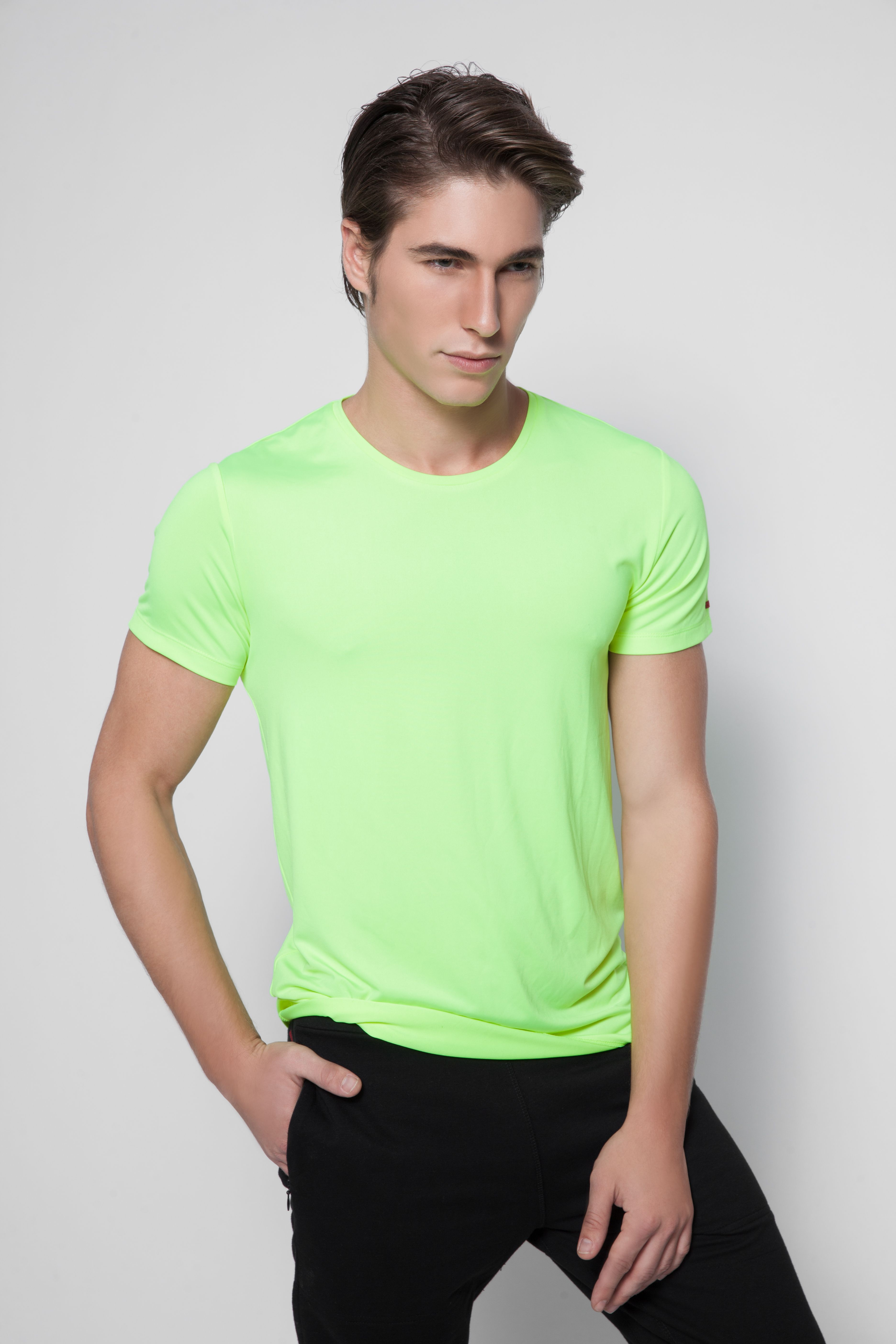 Stylish sporty neon yellow tshirt, inspired by cycling