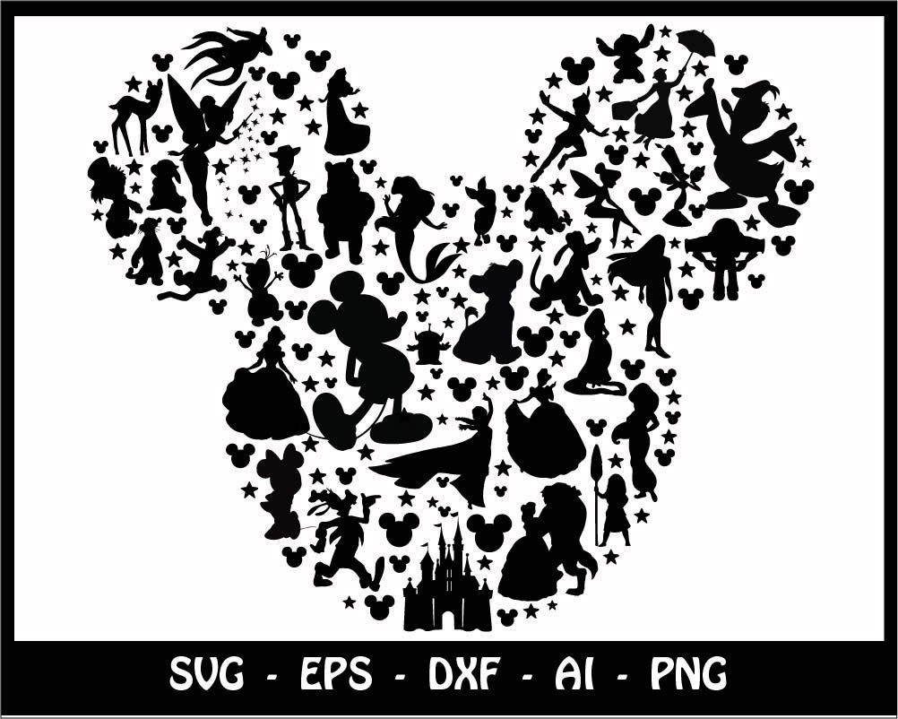 Mickey And Minnie Silhouette Svg