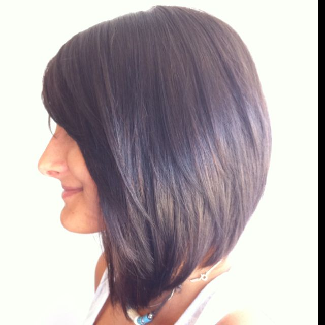 Long brunette stacked bob. | hair cut ideas | Pinterest