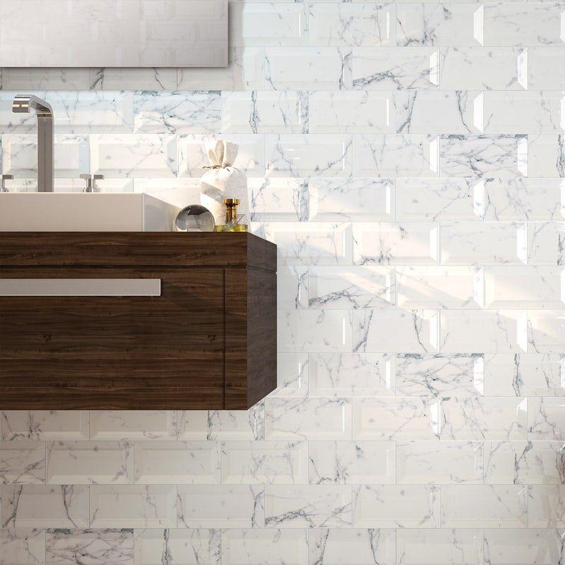 Metro Carrara Bevelled Gloss Wall Tile 100mm X 200mm Wall Tiles Tiles Marble Wall